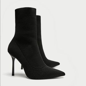 Zara Black Combined Fabric Stretch Ankle Boots